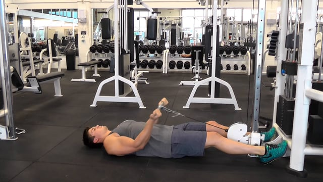 Lying Straight Bar Cable Curls