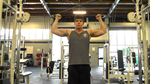 Double Arm Cable Curl To The Head