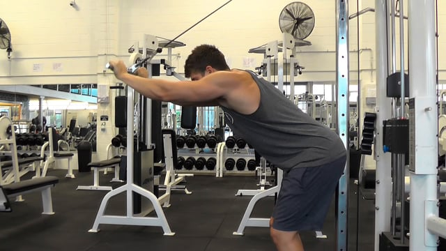 Cable Over The Head Tricep Extension With Straight Bar