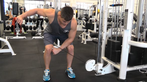Single Arm Bent Over Cable Rear Delt Flye