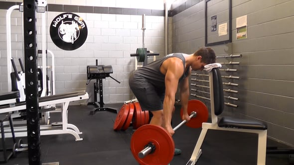 Barbell Bent Over Row With Head On Bench