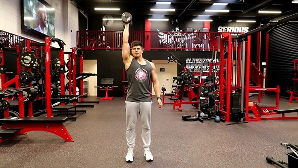 Close - Neutral Grip Single Arm Standing Dumbbell Shoulder Press